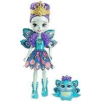 Enchantimals Mini-poupée Patter Paon et Figurine Animale Flap, aux cheveux violets avec jupe à motifs en tissu, jouet enfant, DYC76