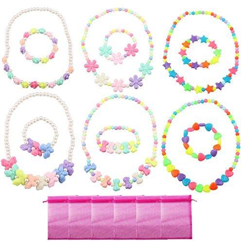 Marienkäfer Kostüm Kleinkind Rosa - Candygirl Baby Mädchen Party Favor Schmuck Kollektionen der Halskette und Armband 6Sets pro Pack Kostüm Schmuck Kleinkinder Kinder Kleid bis