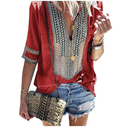 Red 3/4 Sleeve Top (CuteRose Womens V Neck Striped Ethnic Style 3/4 Sleeve Style Tops Blouses Red XS)