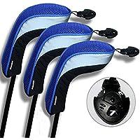 Andux 3 piezas funda de palo de golf híbridos con intercambiable No. etiqueta MT/hy04 (Negro/azul)
