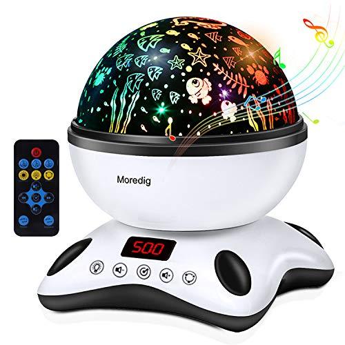 Moredig - Sternenhimmel projektor lampe, musik nachtlicht lampe 360° Grad Rotation mit LED-Anzeige und fernbedienung, 12 beruhigende musik + 8 romantische licht, geschenk für kinder - Schwarz und Weiß