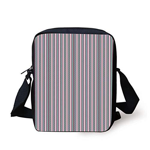 Sea Green-stripe (Geometric,Swirled Lines with Stripes Romantic Design Pale Tone Abstract Decorative,Sea Green Dried Rose Pale Pink Print Kids Crossbody Messenger Bag Purse)