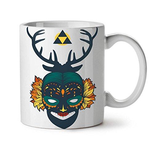 Wellcoda Gesicht Mystiker Maske Mode Keramiktasse, Verrückt - 11 oz Tasse - Großer, Easy-Grip-Griff, Zwei-seitiger Druck, Ideal für Kaffee- und - Zwei Wilden Und Verrückten Kostüm