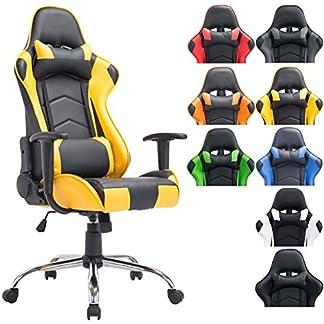 CLP Silla de oficina XXL MIRACLE, silla gaming tapizada en piel sintética, regulable en altura entre los 48 – 58 cm, respaldo reclinable y con diseño deportivo, capacidad hasta 150Kg