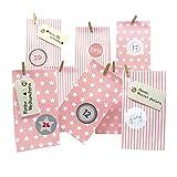 Frau WUNDERVoll® DIY Adventskalender zum Befüllen Weihnachtszeit: Set 206, Blockbodenbeutel 12(L) x7(B) x24(H) cm rosa Sterne und Streifen, Ziffern Pastell