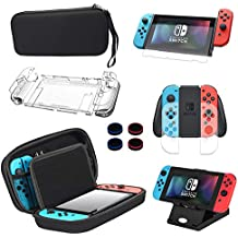 13 in 1 Nintendo Switch Case & Accessories Kit Comes with BOENFU Nintendo Switch Carrying Case, Screen Protector, Joy-Con Controllers Clear Case, Thumb Grip Caps, Adjustable Stand, Portable Strap