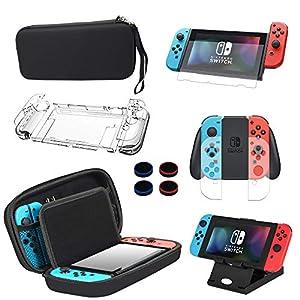 BOENFU 13 in 1 Zubehör Set für Nintendo Switch, inkusive Nintendo Switch Tasche mit Gurt, Nintendo Switch Schutzhülle…