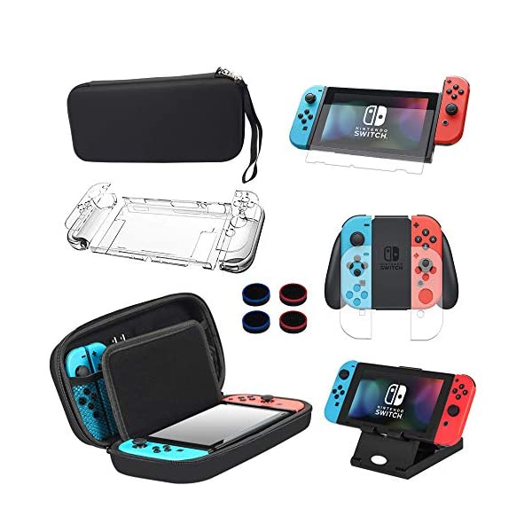 13 in 1 Nintendo Switch Case & Accessories Kit Comes with BOENFU Nintendo Switch Carrying Case, Screen Protector, Joy-Con Controllers Clear Case, Thumb Grip Caps, Adjustable Stand, Portable Strap 51Cm3LVA9JL