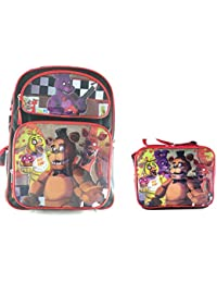 "Five Nights At Freddys Five Nights At Freddy's Large Backpack 16"" Boys School Book Bag Plus Lunch Bag"