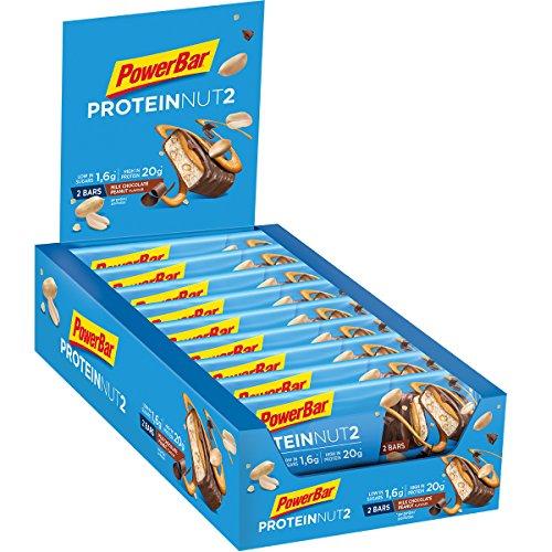Powerbar Protein Riegel ProteinNut2 Eiweiß-Riegel (Kohlenhydratreduziert, kaum Zucker, mit Erdnüssen) Milk Chocolate Peanut, 18 x 60g (Pro White Box)