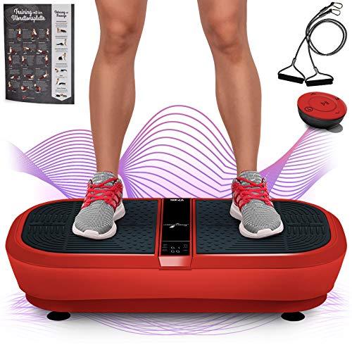 Sportstech Profi Vibrationsplatte VP300 mit 3D Wipp Vibrations Technologie,2x1000W max Motoren Leistung + Bluetooth Musik, Riesige Fläche, einmaliges Design + Trainingsbänder + Fernbedienung + Poster