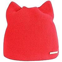 16493ce3bafeb ZXGJMZ Mujeres Invierno Cálido Sombrero Oreja de Gato Beanie Cap Sólido  Sombreros de Punto Gorros Hip