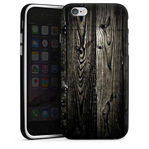 Apple iPhone X Silikon Hülle Case Schutzhülle Ebenholz Look Holz Schwarz Holzwand Silikon Case schwarz / weiß