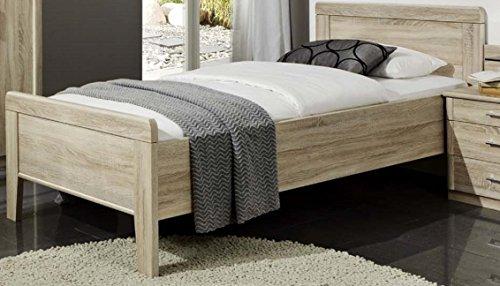Seniorenbett 90x200cm Eiche sägerauh dekor – erhöhtes Komfortbett 90x200cm – (3145)