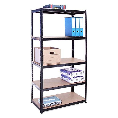Scaffale per garage - scaffalatura - 180cm x 90cm x 45cm - nero - 5 ripiani (175kg a ripiano) - capacità di carico 875kg - 5 anni di garanzia