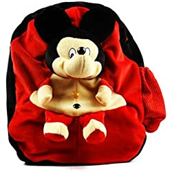 KAYKON Mickey Mouse Velvet School Bag Soft Plush Bag Toy For Kids (Red)