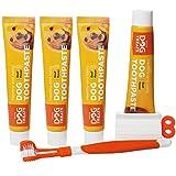 Natural Dog Treats Cepillo y 4X Dentífrico Set para Perros, Set Higiene Dental, Pasta de Dientes Sabor a Carne, Cuidado Dental Comestible