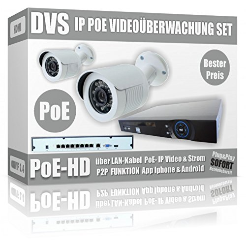 DVS--Kit-de-vigilancia-de-vdeo-con-2-Cmaras-IP-POE-Bullet-IP-POE-NVR--2000-GB