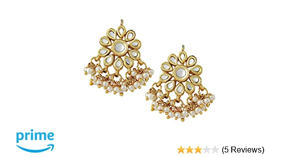81c4cb610 Buy Jewellity Kundan Flower Golden White Pearl Designer Traditional Fusion Stud  Earrings for Women ERK-501 Online at Low Prices in India | Amazon Jewellery  ...