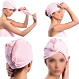 SODIAL(R) 2 X serviette de sechage pour cheveux Pour dame Bouton de boucle Couleur random