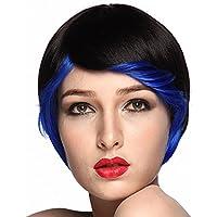 namecute Pixie peluca corta Ombre negro a azul cosplay peluca
