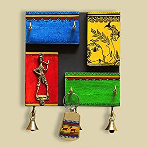 ExclusiveLane Warli Hand-Painted Recycled Wood Key Hanger Stand Cum Key Holder