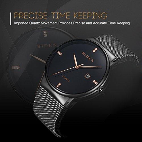 ALPS Mens Womens Unisex Waterproof Simple Casual Analog Quartz Dress Wrist Watch With Mesh Bracelet (Black)