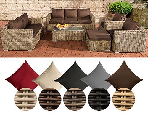 CLP Poly-Rattan Loungemöbel Set MADEIRA XL, 3er Sofa + 2er Sofa + 2x Sessel + Hocker + Tisch 110 x 60 cm Bezugfarbe: Terrabraun, Rattan Farbe natura
