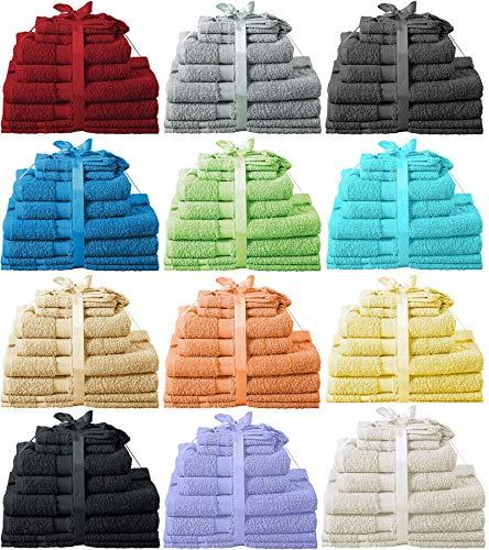 Heim24h 10 TLG. Handtuch-Set, 2 Handtücher, 2 Duschtücher, 2 Gästetücher, 2 Waschhandschuhe, 2 Badematte aus Baumwolle (Apfel Grün)