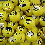 12x Flummi Smiley Gelb Dopsball Springball Gesicht 3,5cm Mitgebsel Geburtstag
