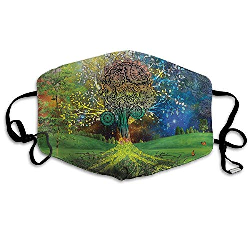 EighthStore Tree in The Valley with Spiral Branch Balance in Mother Earth PM 2.5 Anti Pollution Mask Military Washable Dust Respirator Cotton Mouth Masks Mouth-Muffle for Man and W Mund Maske