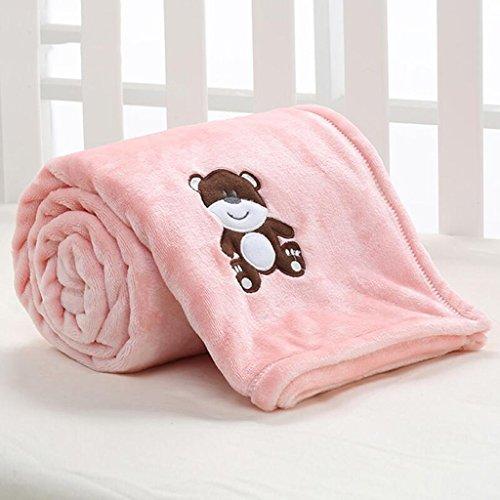 YAOHAOHAO Rosa Bären Muster babydecke Decke Polyester Material Winter Kindergarten Konzipiert für Baby (100*150cm)