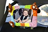 Evryneed Rainbow Baby Car Mirror, Backseat baby mirror, Rear view Car Mirror, Rectangle Shape with Soft multicolour velvet frame of teddy bear head and paw. 100% Shatterproof, Ready Assembled.