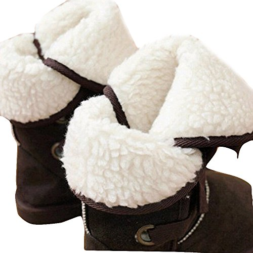Gaorui Damen Mädchen Schlupfstiefel Schneestiefel mit Schnürung Innenseite nach außen kehren Kunstfell gefüttert Braun