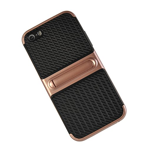 MOONCASE iPhone 5/5s/iPhone SE Coque, Double Hybride Robuste Protection Housse Etui Couche d'Armure Lourde Case avec Béquille pour iPhone 5/iPhone 5s/iPhone SE Blanc Or Rose