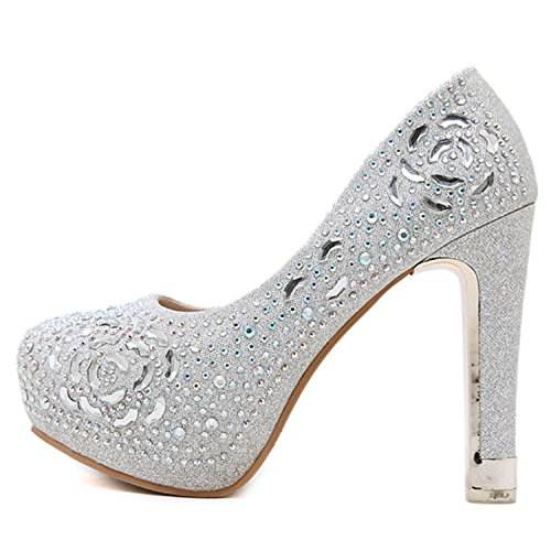 Oasap Women's Round Toe Rhinestone Block Heels Slip-on Pumps Silver