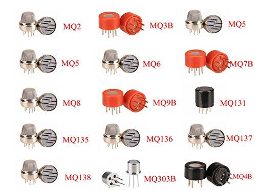 pzsmocn Arduino 15-in-1 Semiconductor Sensor Pack MQ-2£¬MQ-3B,MQ-4£¬MQ-5£¬MQ-6,MQ-7B,MQ-8£¬MQ-9B,MQ131£¬MQ135£¬ MQ136£¬MQ137£¬MQ138£¬MQ-303B£¬MQ-4B