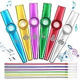 Anpro 6 Pezzi Kazoo in metallo con sei membrane flauto membrana bocca Kazoo Musical Instruments Con corda e panno per la pulizia
