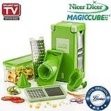Genius Nicer Dicer Magic Cube| Grün | 12 Teile | Obst- und Gemüseschneider