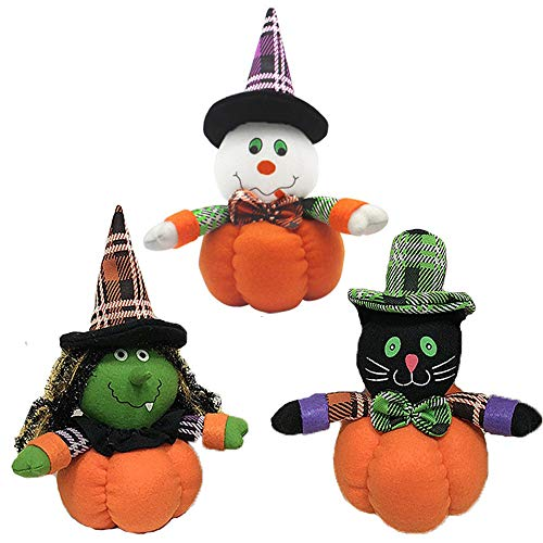 YODE Witch Pumpkin Ghost Plush Stuffed Soft Toys For Kids Home Party Festival Pub Bar Home Halloween Decoration - 3Pcs/Set