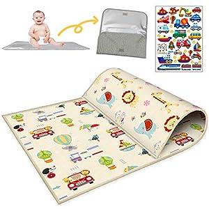 Buyger Baby Krabbelmatte Spielmatte Weich Spielteppich – 1CM Thick – Wasserdicht – Double Sided – Faltbarer – LDPE Plastik – 200 x 180cm – Kinderteppich für Kinder Innen und Außenbereich