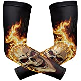Wamika Arm Sleeve For Men Women Punk Unique Burning Skull UV Protection Cooling Long Sports Compression Arms Cover Tattoo Sleeves Perfect For Baseball Football Basketball Running - 1 Pair