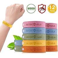 Bracelet Anti-Moustique, 12 Pcs Matériau Naturel et Non Toxiques, pour Adultes et Enfants Anti Moustique Bracelet, Extérieure Intérieure Bracelet Anti Moustique Réglable