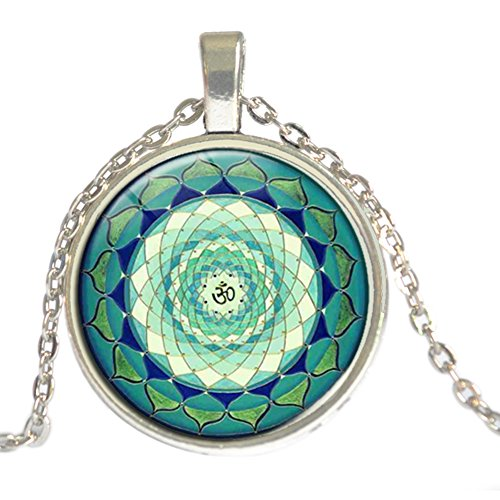 Symbol-schal (Fengteng Indien Yoga Amulett Halskette Grün Mandala Art Anhänger OM Symbol Buddhismus Zen Meditation Glas Lotus Om Halsschmuck Unisex Halskette Geschenk (Silber))