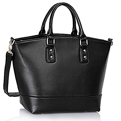 Womens Oversized Designer Shoulder Faux Leather Bags Stylish Shopper Handbags (Black/Nude Fashin Tote)