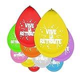 P'TIT Clown re79202, Sachet de 10 ballons 25 cm Vive La Retraite...