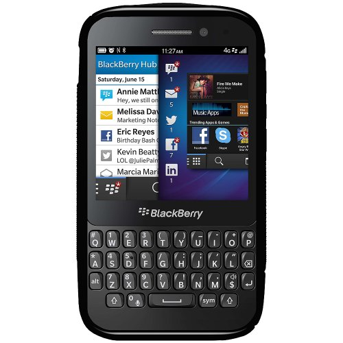 Amzer 95969 TPU Hybrid Case - Black for BlackBerry Q5