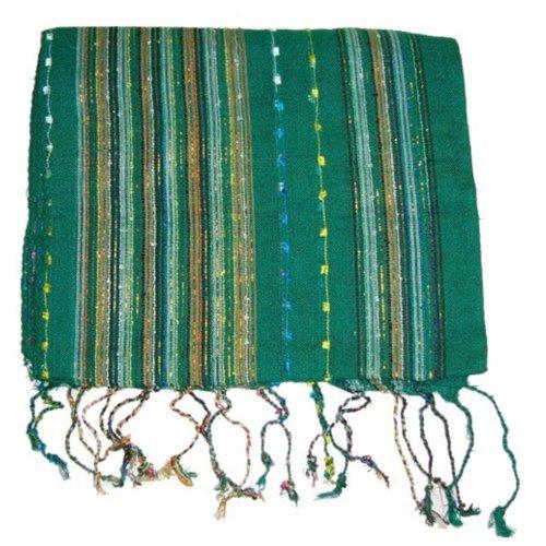 Lurex Schal grün bunt gestreift mit Fransen Viskose 170x28cm schmal Tuch Mode Accessoire (Gestreiften Grün Schal)