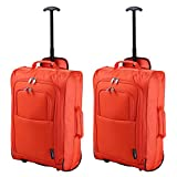 Set of 2 Super Lightweight Cabin Approved Luggage Travel Wheely Suitcase Wheeled Bags 1.45k - 42 Litres (Orange)