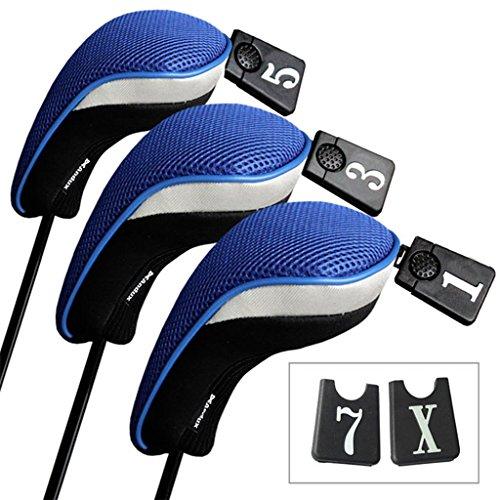 Andux 3 Packung golf holz Schlägerkopfhüllen Eisen hauben austauschbar Nr. Etikett MT/mg02 schwarz /blau